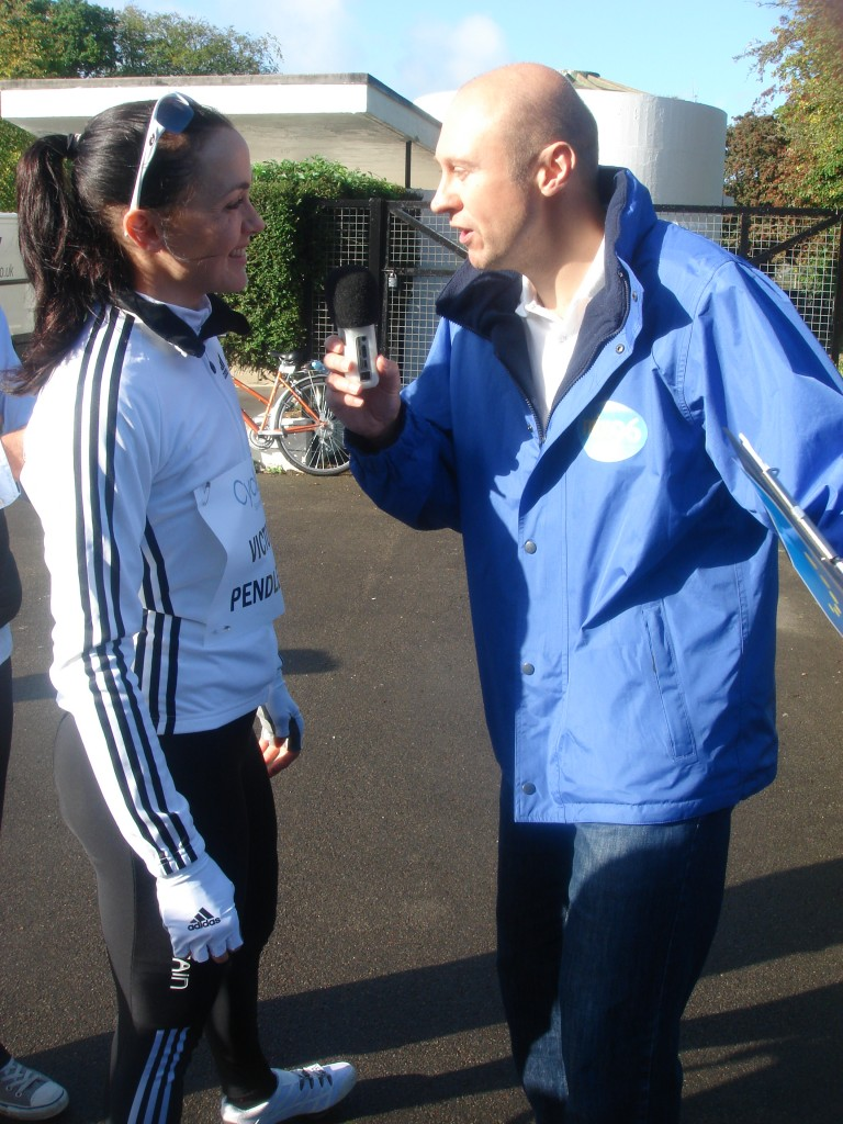 Neil Quigley talking to Victoria Pendleton