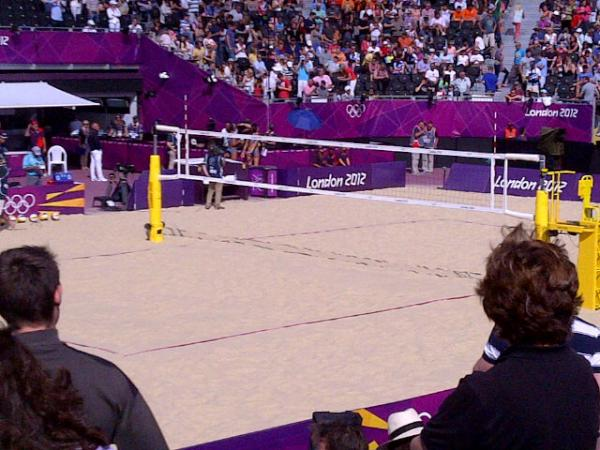 The view from my seat at the Beach Volleyball