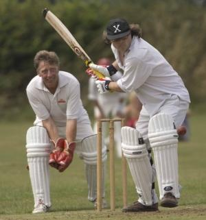 Hugh Fearnley-Whittingstall in Cricket Action