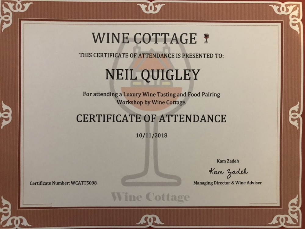 Wine Certificate